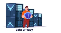 man with shield on data storage center with hosting servers and staff. Computer technology, network and database, internet center, communication support, flat design vector illustration