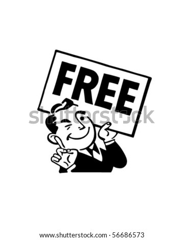 Man With Sign - Retro Clip Art