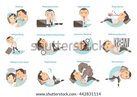 Man with sleep problems. Vector illustration