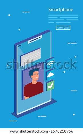 Man with smartphone design, Digital technology communication social media internet and web theme Vector illustration