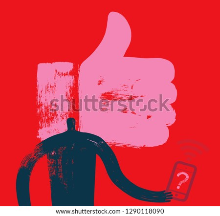 Man with Smartphone, Head and Shoulders, Like Symbol, Grunge Texture, Red Background, Social Media, Facebook, Linkedin, Follower, Smartphone User, Digital Marketing, Mobile, Follower, Millennial