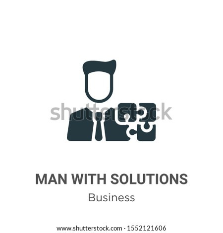 Man with solutions vector icon on white background. Flat vector man with solutions icon symbol sign from modern business collection for mobile concept and web apps design.
