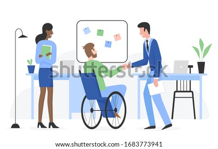 Man with special needs in wheelchair gets job flat character vector illustration. Positive touchable situation with smiling people in company office. Career and employment of disabled person concept Photo stock ©