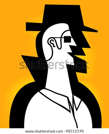 man with spy shadow in yellow background