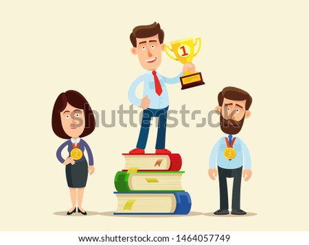 Man with 1st place trophy standing on stack of books. Knowledge is power. Knowledge, career and success. Improve new skills. Business vector illustration flat cartoon style. Isolated background.