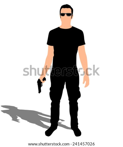 man with sunglasses holding gun