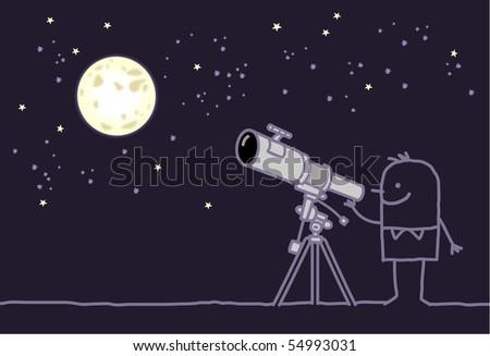 man with telescope & moon