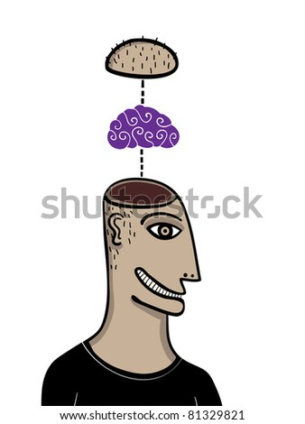 man with the brain outside its head