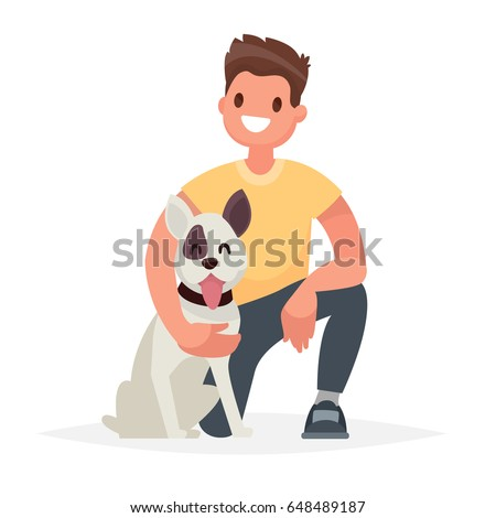 Man with the dog. Caring for a four-footed friend. Vector illustration in a flat style