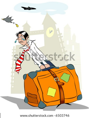 Man with the luggage, who did not have time to the aircraft.