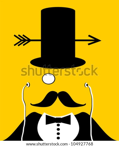 man with top hat with arrow through - stock vector