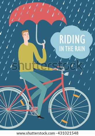 man with umbrella riding on a