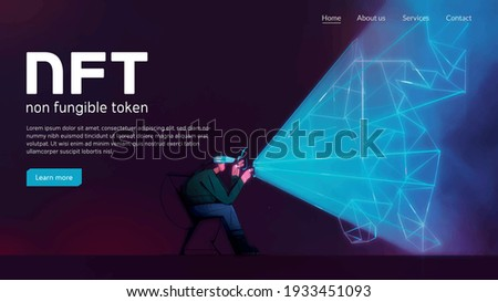 Man with VR headset. Cryptoart concept illustration for non-fungible token. Digital art with blockchain technology. Can use for web banner, infographic vector illustration concept web design Stockfoto ©