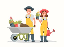 Man with wheelbarrow of earth, a woman holding a flower pot and watering can.