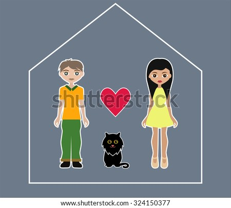 Man, woman and cat in abstract house. Happy family. Vector illustration #324150377