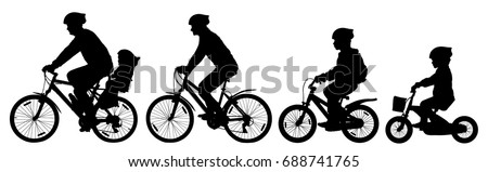Man woman and children boy and girl on a bicycle riding on a bike, cyclist set, silhouette vector