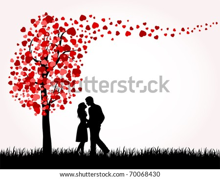 man  woman and love tree with