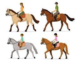 Man, Woman, Boy, Girl riding horses Vector Illustration Set, isolated. Family equestrian sport training horseback ride