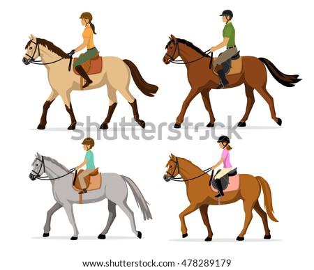 man  woman  boy  girl riding...
