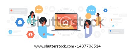 man woman chat bubble communication people using laptop screen with home page social media network concept speech conversation flat horizontal portrait
