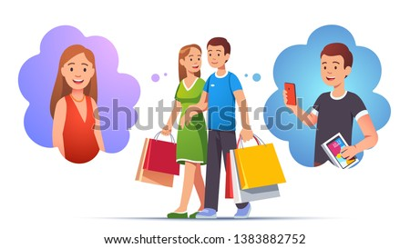 Man & woman family couple walking hand in hand holding many shopping bags. Anticipating imagining opening and tying out their purchases. Shopper lifestyle. Flat style vector character illustration