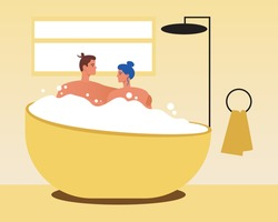 Man, woman in a bubble bath. Flat vector stock illustration. Foam bath at home. The couple spends time at home. Concept of love, romance together. Modern bathroom. Vector graphics