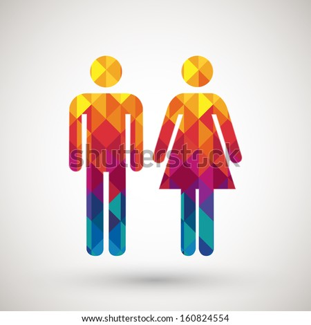 man & woman restroom sign with colorful diamond, vector illustration.