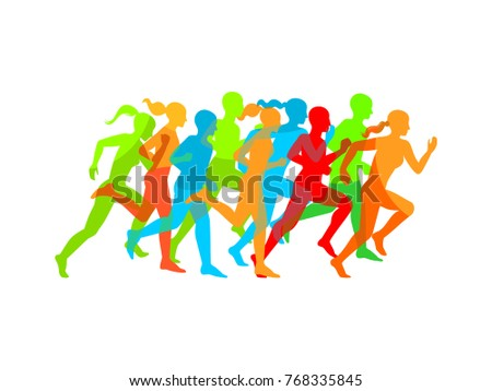 Man & Woman running. Set of silhouettes of running men and women. Imitation of transparency.Vector EPS 8.