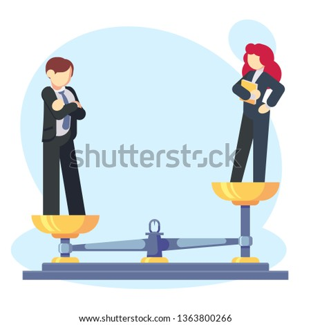 Man woman scales concept with male and female, male weighing more. Gender gap and inequality Businessman and businesswoman Symbol of discrimination difference and injustice Flat vector illustration