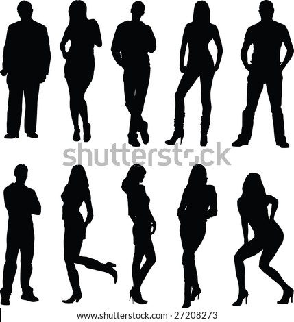 man, woman, silhouette - stock vector