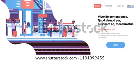 man woman waiting train railway station passengers underground interior flat banner copy space vector illustration