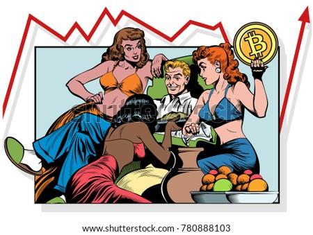 man  women and bitcoin vector