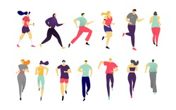 Man, women running on sports jogging activity people vector hand drawn fitness workout illustration isolated on white. Runners character group in motion. Active athlete people runner race, marathon.