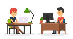 Man work with computer laptop design flat. Computer and business man worker, man in office desk, businessman person at table workplace, character work manager vector illustration