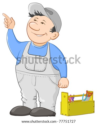 Man worker in a cap and a uniform with a toolbox, vector