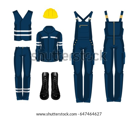 72d116618123 Man worker in professional clothes and yellow safety helmet. Set of  protective wear on white