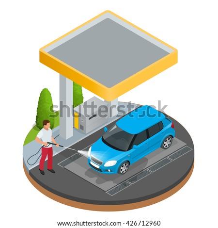 man worker washing car a car