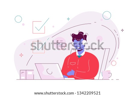 Man working at computer in call centre. Boy in headphones at workplace vector illustration. Hotline operator with hands-free headset advises client flat concept. Online global technical support