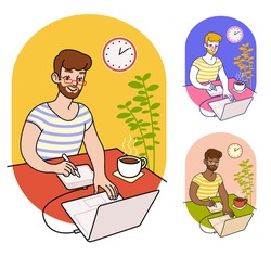 Man working from home. Cozy, colorful home office. Plant in the background. Home office and coffee. Cozy workspace, clock on the wall. Flat style cartoonish illustration.