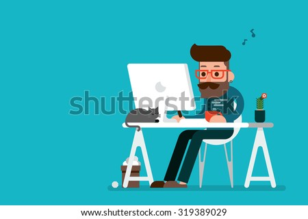 Man working on computer.