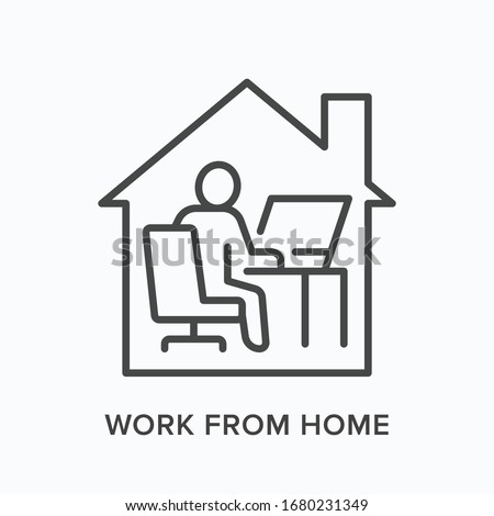 Man working on computer from home line icon. Freelance work, online education vector illustration. Person sitting in front of laptop at house office linear sign.