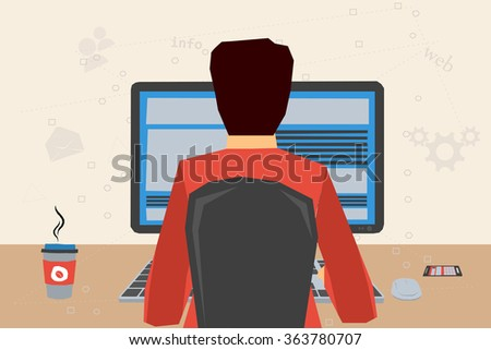 man working on internet using