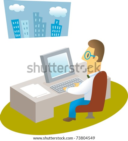 man working with computer /confident businessman working with computer