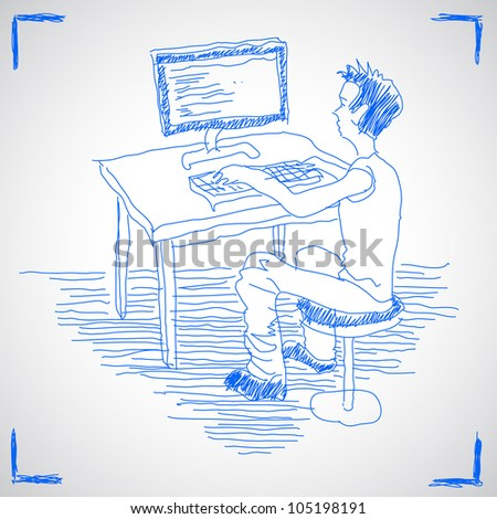 Man working with computer. Hand drawn sketch illustration isolated on white background
