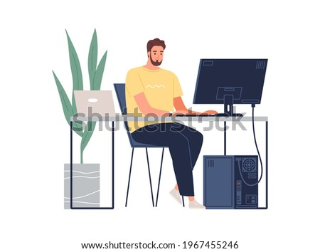 Man working with laptop and computer at desk. Software developer, programmer or system administrator with PC. Technical specialist at workplace. Colored flat vector illustration isolated on white Сток-фото ©
