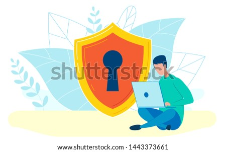 man working with laptop flat