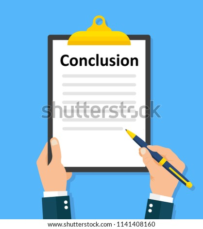 Man writes conclusion. Paperwork, sheets in folder flat design - stock vector.