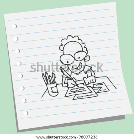 man writing a letter doodle illustration