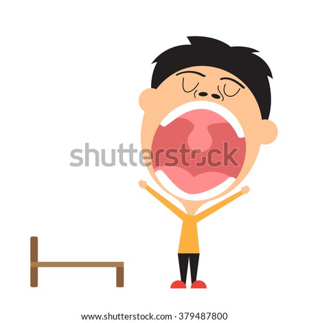man yawning and lazy vector