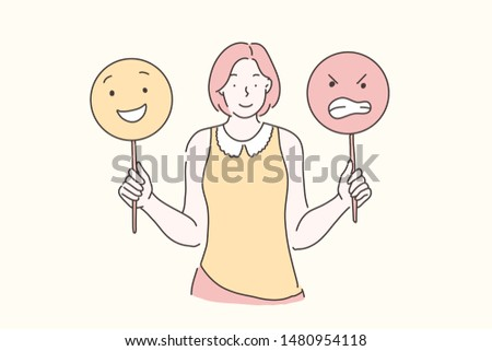 Manage emotions, training, mood concept. Young beautiful woman teaches develops emotional intelligence. Teenager girl holding emoticons. Simple flat vector.